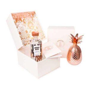 Absolut-Elyx-wodkakoffer-met-koperen-ananasglas kerst