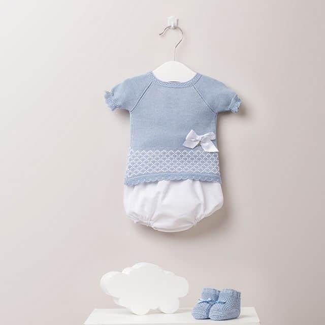 blauwe gebreide set _ babykleertjes _ uwcadeaumanden