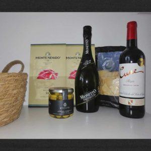 luxe geschenk. wijn en ham
