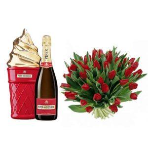geschenk van champagne en bloemen
